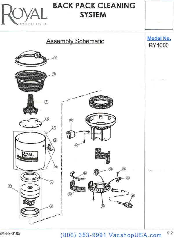 Royal RY4000 Parts Schematic – Royal Vacuum Cleaner Wiring Diagram